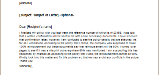 Letter to Request a Correction of a Policy Error
