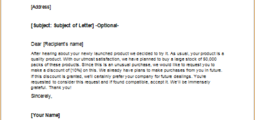 Letter to Request a Discount on Bulk Purchase