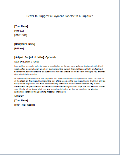 Letter to Suggest a Payment Scheme to a Supplier