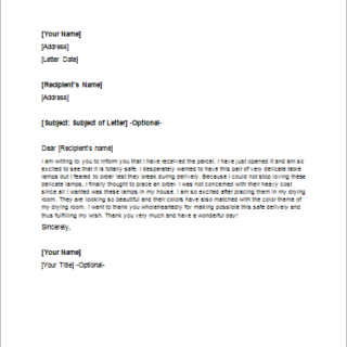 Letter to Thank Someone for the Safe Package Delivery