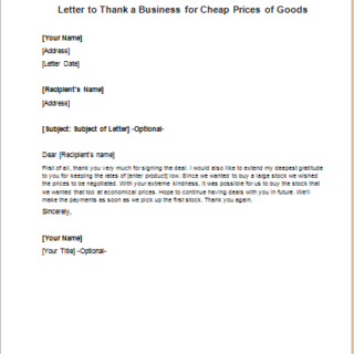 Letter to Thank a Business for Cheap Prices of Goods