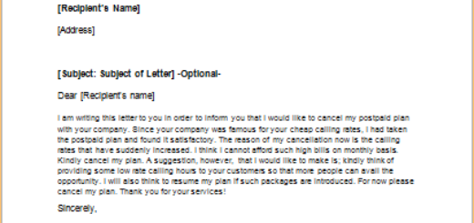 Postpaid Service Contract Cancellation Letter