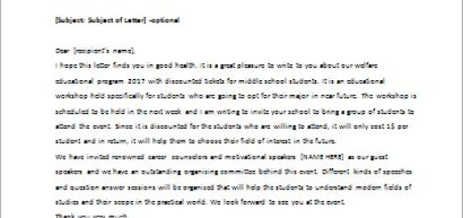 Promotional Letter Announcing Discounts for School Group