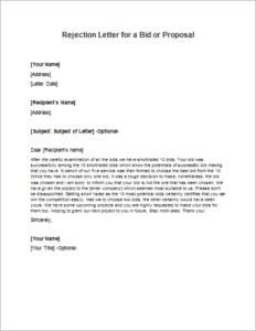 Rejection Letter for a Bid or Proposal