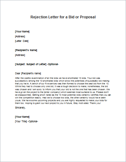 Vendor polite to rejection letter Writing a