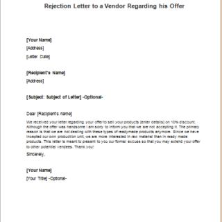 Rejection Letter to a Vendor Regarding his Offer
