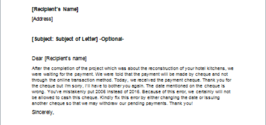 Request Letter to Correct an Error in a Cheque