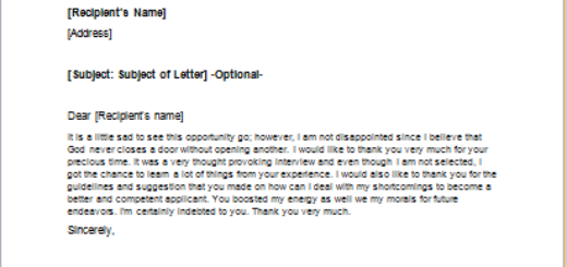 response letter to a job rejection
