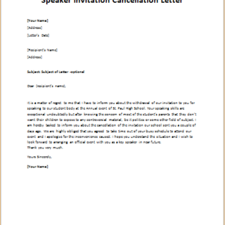 Speaker Invitation Cancellation Letter