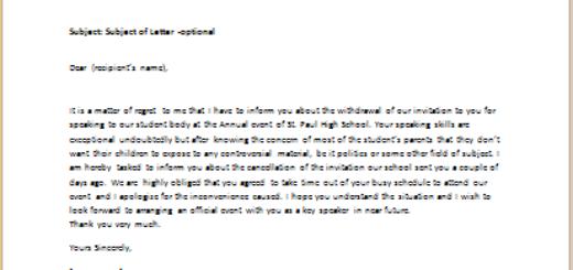 Speaker Invitation Cancellation Letter