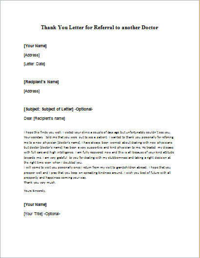 Thank you letter for referral to another doctor writeletter2 expocarfo Gallery
