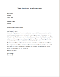 Thank You Letter for a Presentation