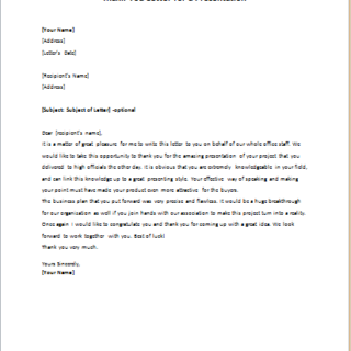 Thank you letter for presentation