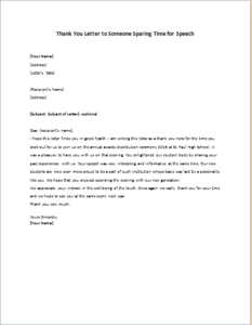 Thank You Letter to Someone Sparing Time for Speech