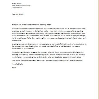 Letter Of Reprimand For Unprofessional Behavior from writeletter2.com