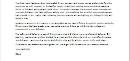 Disciplinary Letter For Unprofessional Behavior from writeletter2.com