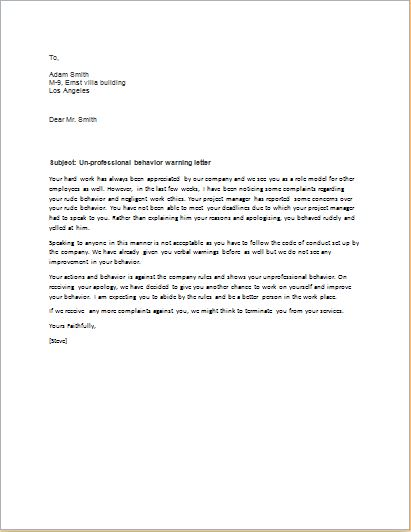 Formal Warning Letter To Employee from writeletter2.com
