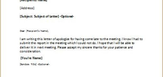 Apology Letter for Being Late