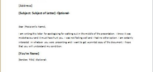 Apology letter for walking out during presentation