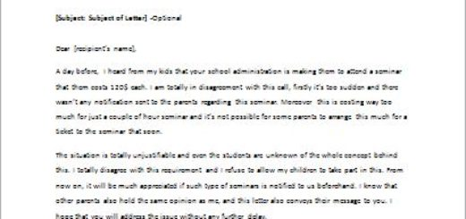Disagreement letter about new school requirement