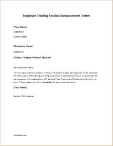 Employee training session announcement letter