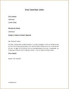 Error correction letter