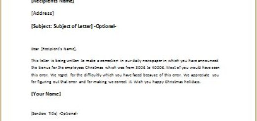 Error correction letter