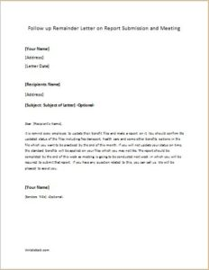 Follow up Remainder Letter on Report Submission and Meeting
