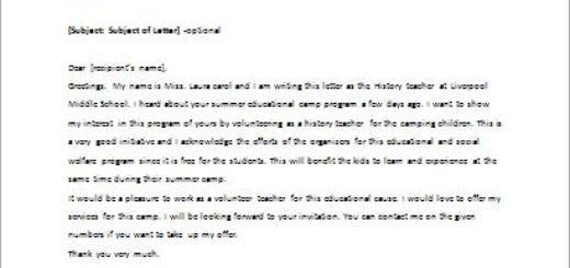 Letter Offering to Become a Volunteer Teacher