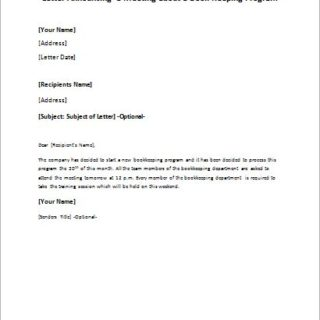 letter announcing a meeting about a book keeping program