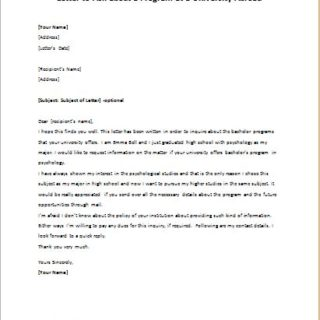Letter to Ask about a Program at a University Abroad