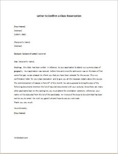 Letter to Confirm a Class Reservation