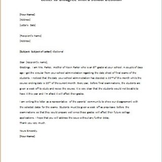 Letter to disagree with a school decision