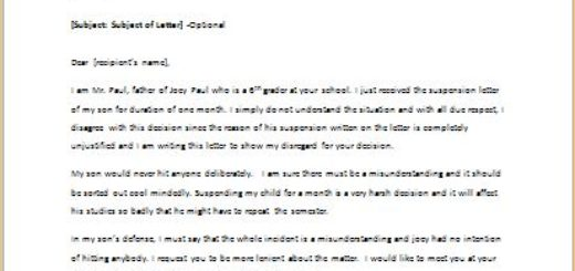 Letter to disagree with student suspension