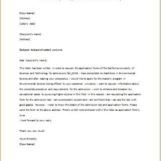 Letter to Request Application Forms to a University