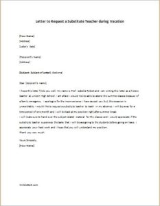Letter to Request a Substitute Teacher during Vacation