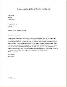 Recommendation letter for teacher from parent
