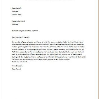 Recommendation letter for teacher from parent