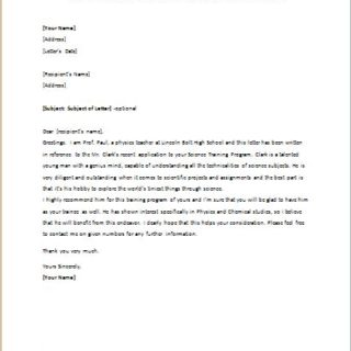 Recommendation Letter for Teenager for a Training Program