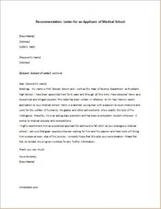 Recommendation Letter For An Applicant Of Medical School
