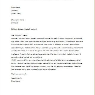 Medical school admission recommendation letter writeletter2 recommendation letter for an applicant of medical school expocarfo Gallery
