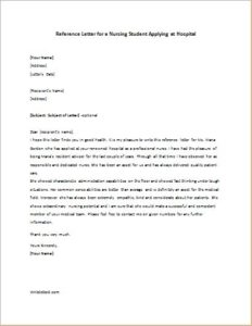 Reference Letter For A Nursing Student Applying At Hospital