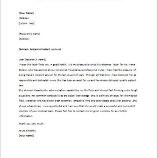 Reference Letter for a Nursing Student Applying at Hospital