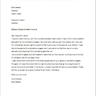 Reference Letter for a Student Applying for a Scholarship