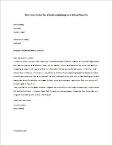 Reference Letter for a Student Applying for a School Transfer