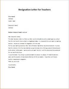 Resignation Letter for Teachers