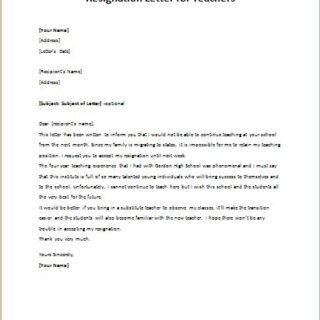 School Teacher Resignation Letter | writeletter2.com