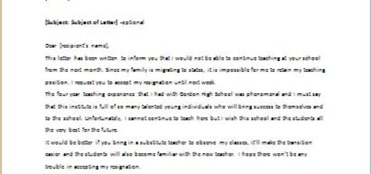 Resignation Letter for Teachers