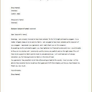 Scholarship Acceptance Letter
