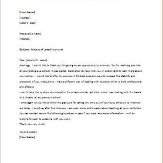 Thank You Letter after Interview for Teaching Position